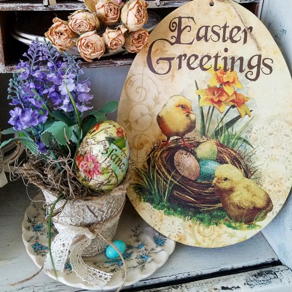 Vintage Easter Greetings Easter Peat Pot decoupage egg