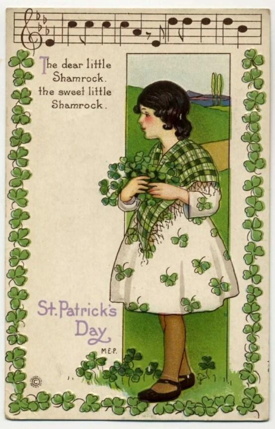 Vintage Saint Patrick's Day post card music notes
