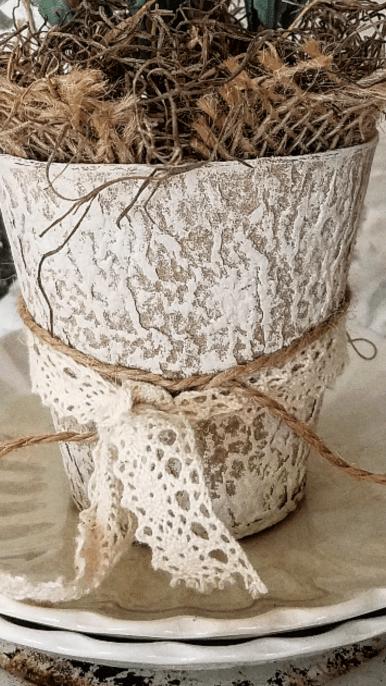 Chalk painted Peat pot natural Seed pot