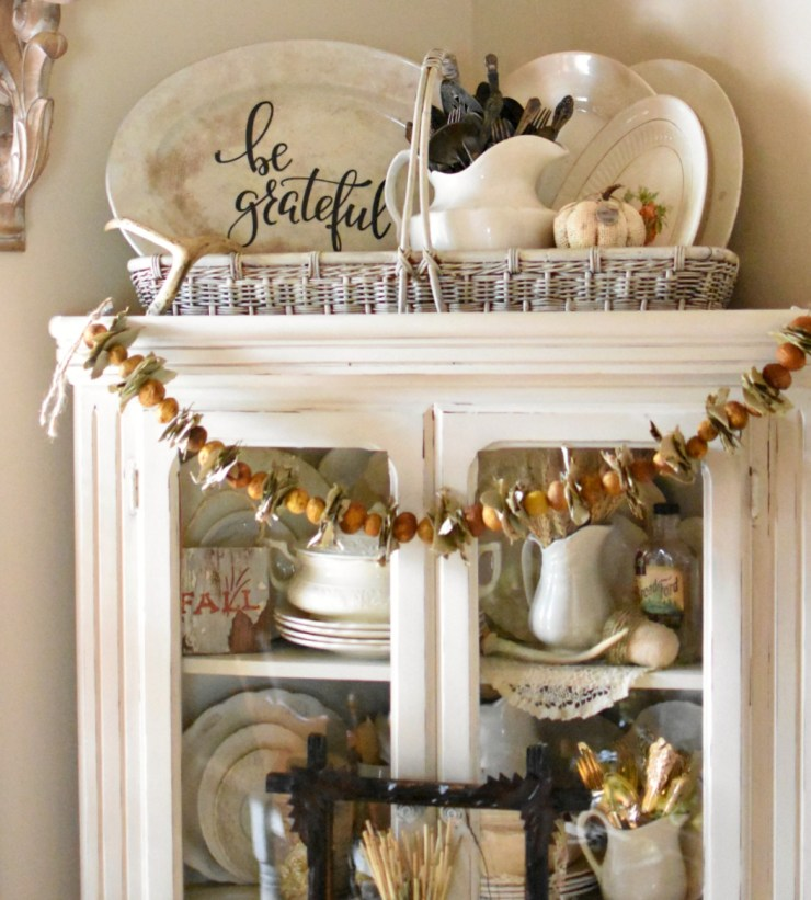 vintage cottage fall home tour farmhouse china cabinet with ironstone