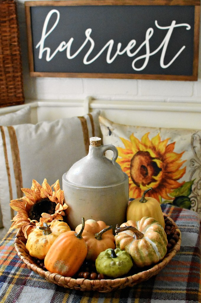 farmhouse fall kitchen decor farmhouse sign Harvest Sign Antique Farmhouse Faux Pumpkins sunflowers