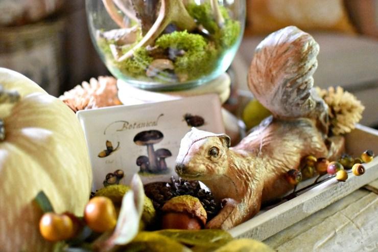 vintage garden squirrel woodland tray vignette fall decorating ideas flea market style fall decor