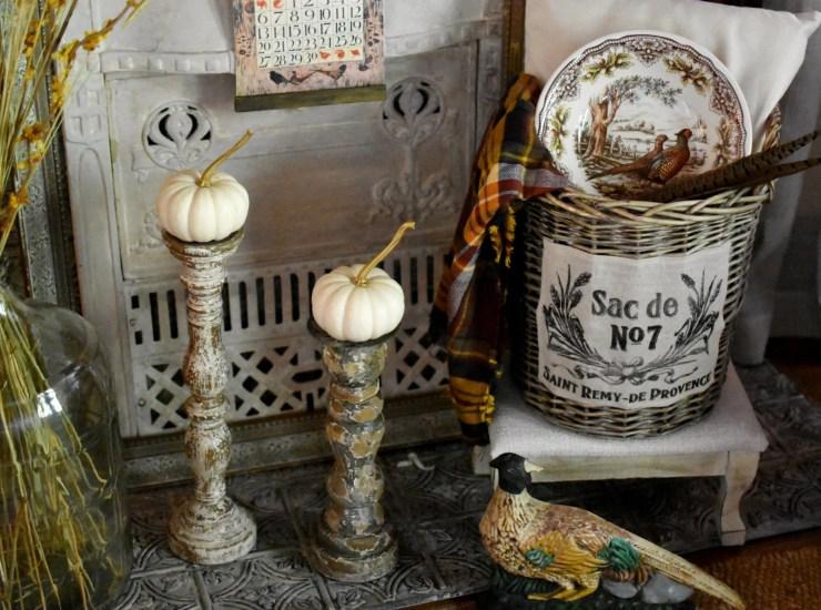 beautiful fall pheasant vignette fall vignette ideas pheasant bowl in French basket vintage pheasant door stop
