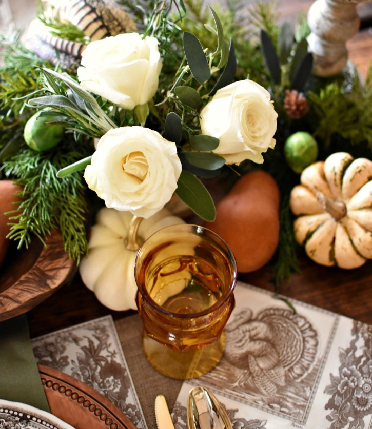 Elegant Thanksgiving Tablescape vintage amber glass goblets Spode turkey napkin, roses, pumpkins, pears