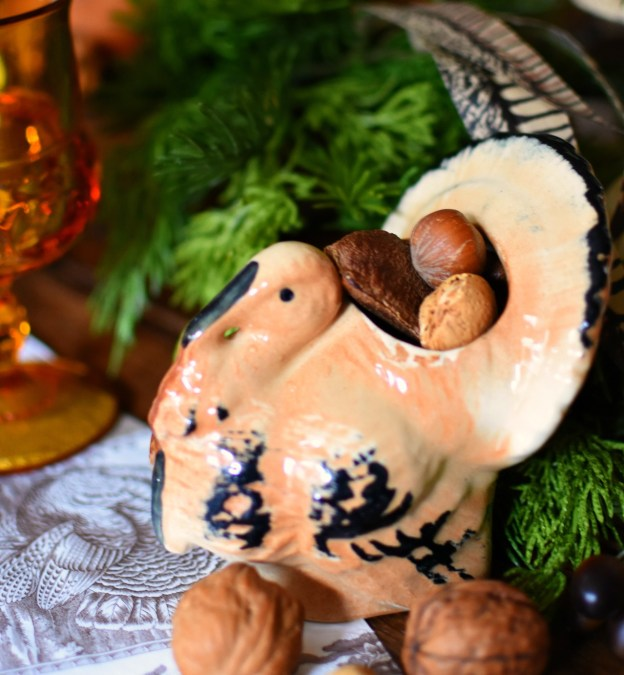 Vintage Turkey Planter with nuts Thanksgiving decorating ideas