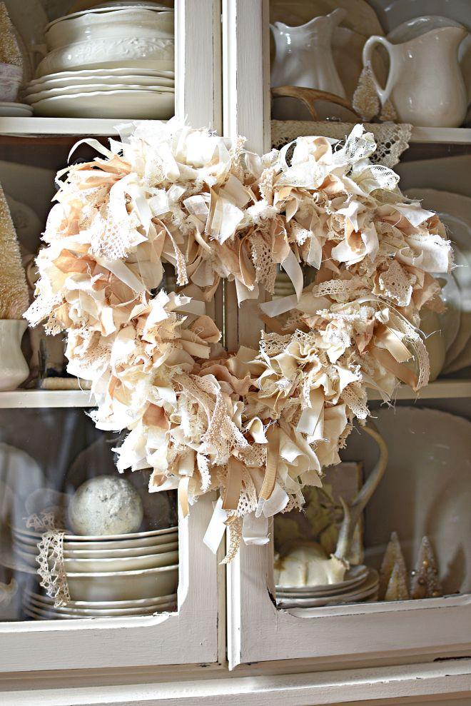DIY Neutral Farmhouse Heart Rag wreath