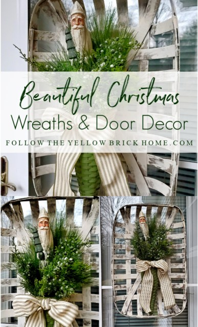 Christmas wreaths and Christmas door decor ideas farmhouse Christmas door basket