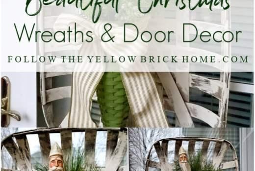 Christmas wreaths and Christmas door decor ideas farmhouse Christmas door basket