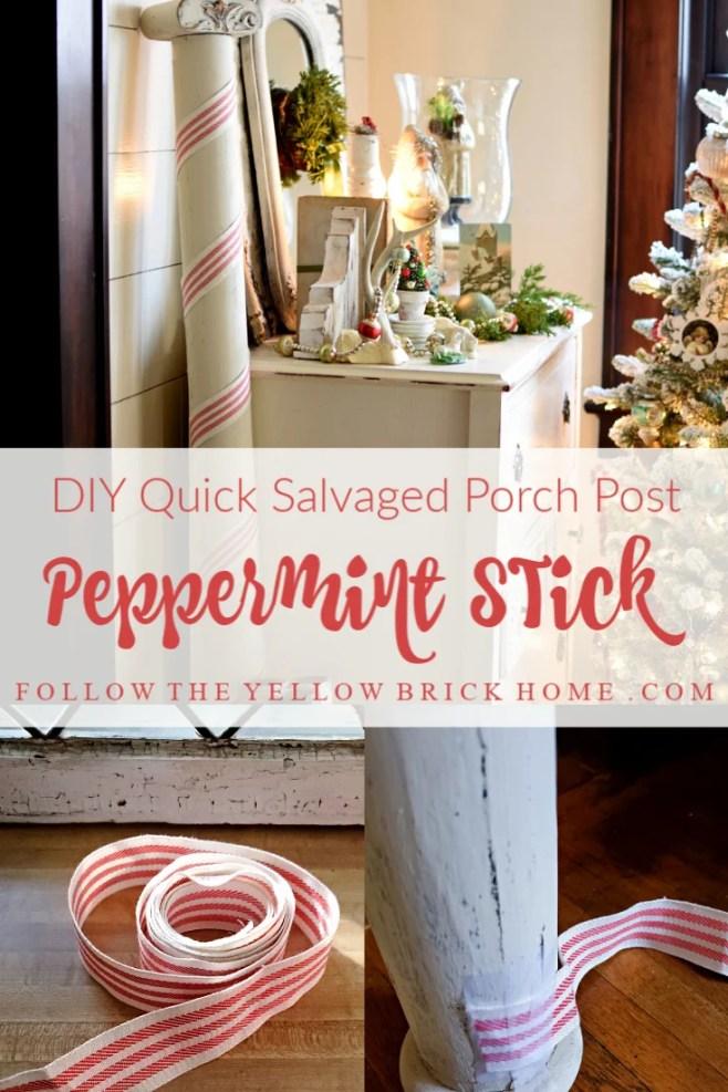 DIY porch post peppermint stick using striped ribbon