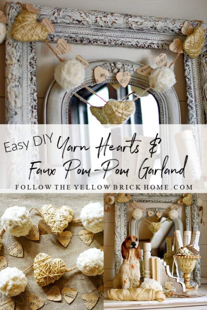 Easy Diy Yarn Hearts and Faux Pom-Pom Garland