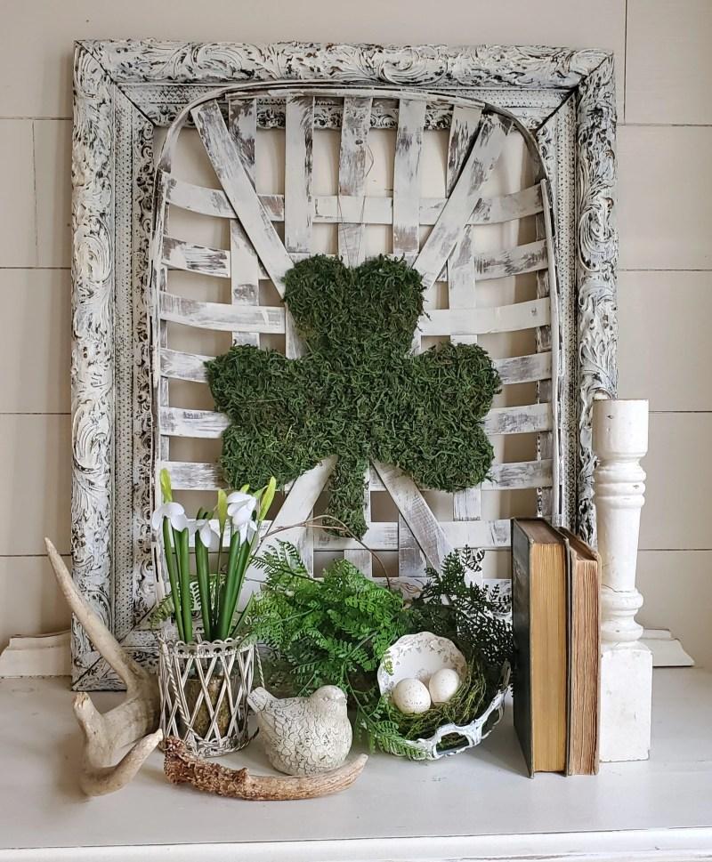 Farmhouse early spring vignette DIY Moss Covered Shamrock Dollar Tree Hack St. Patrick