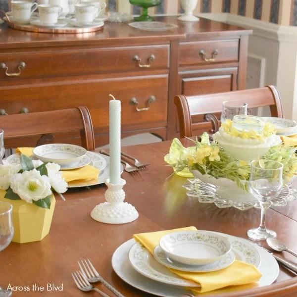 spring tablescape yellow vintage milkglass