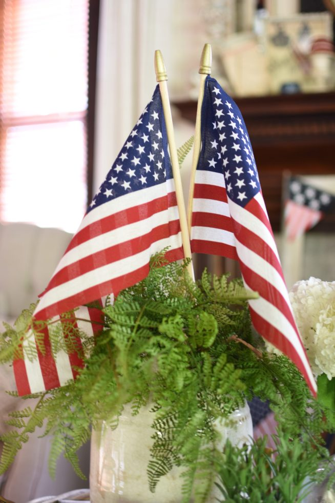 Vintage patriotic decor farmhouse fourth of July American Flags in ferns