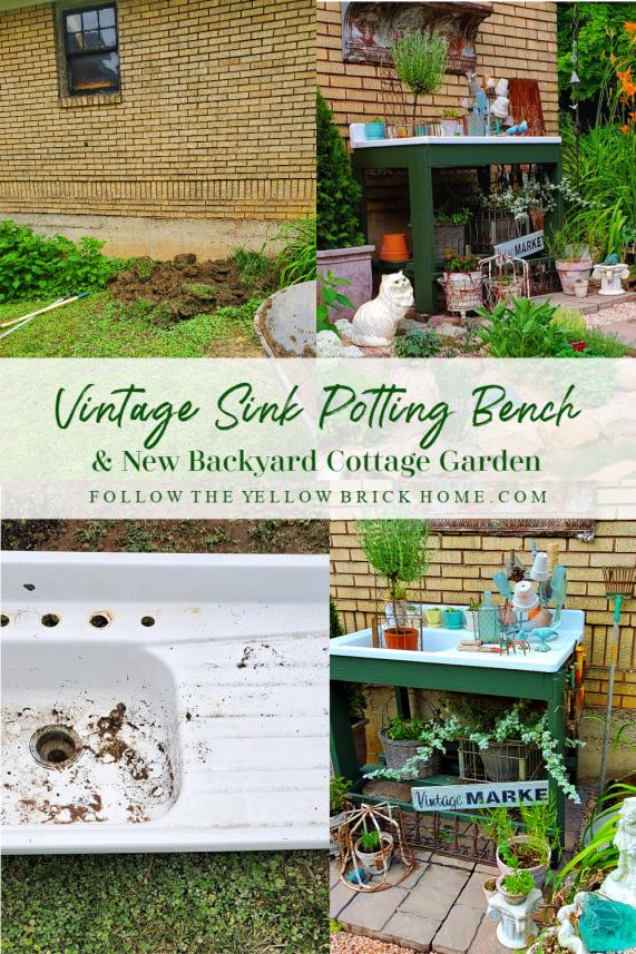 Vintage cottage junk garden with DIY repurposed vintage sink potting bench
