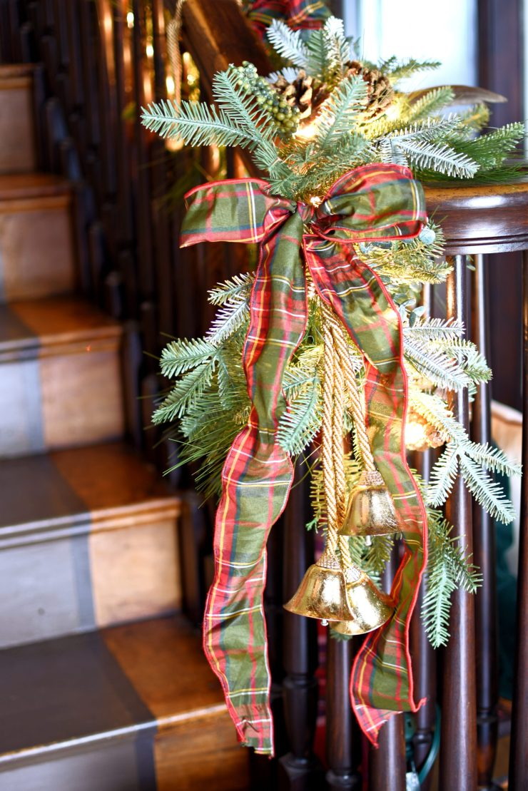 Christmas banister plaid bow ribbon and gold bells