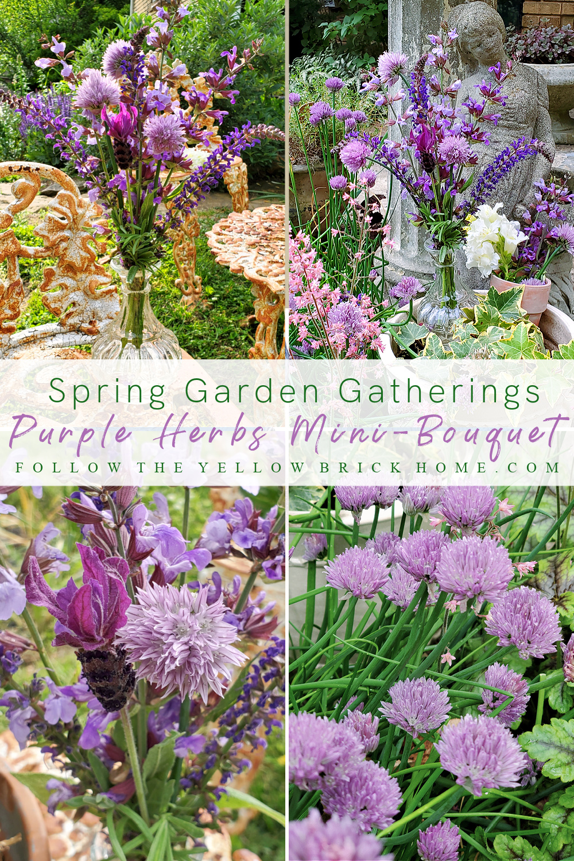 purple herbs mini-bouquet purple plants in the garden purple perennials chives, sage, salvia