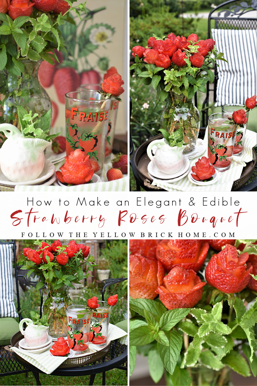 How to make an elegant and edible Strawberry Roses Bouquet with mint