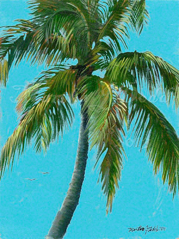 """Tropical PalmWall Art, """"Palm Tree"""" Art Prints – Available in 6 Colors"""