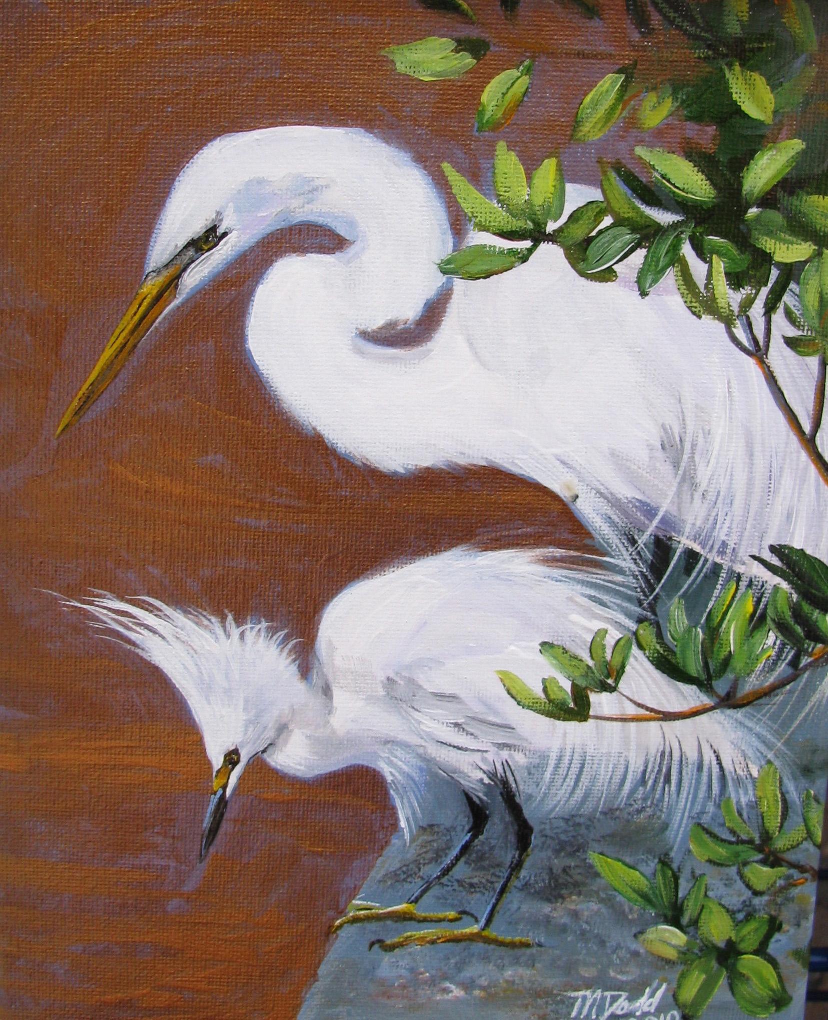 "Egret Art Print: ""Fishing Friends"", by Martha j Dodd"