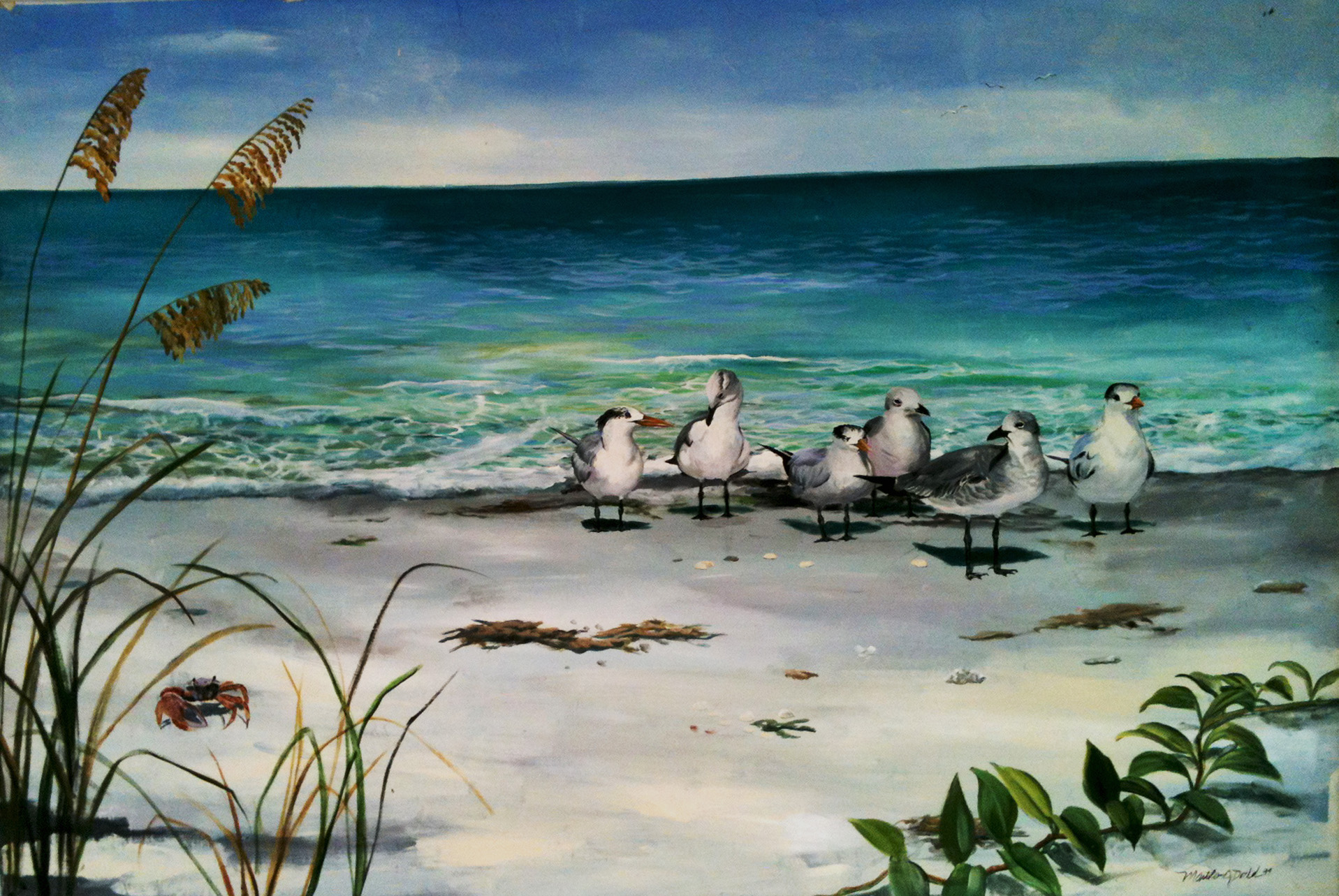 seagulls on the beach coastal wall art