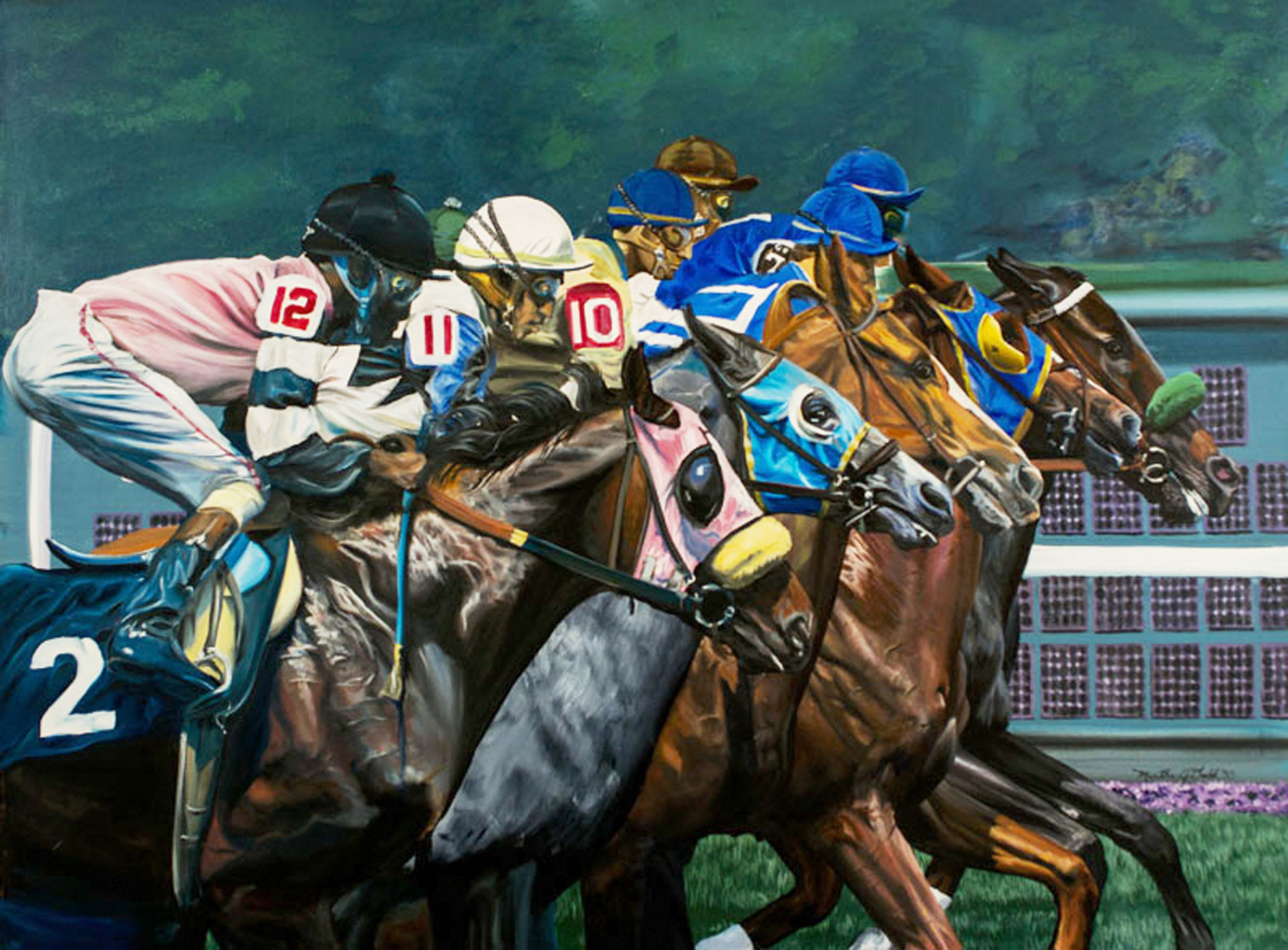 Race horse painting and Race Horse Wall Art