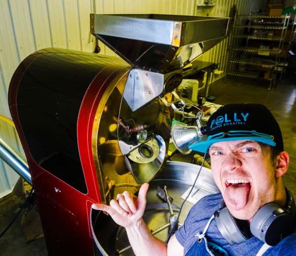 Rob Folly Roasting Coffee
