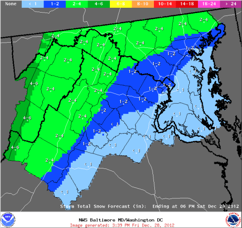 Baltimore-Washington National Weather Service (NWS) snowfall forecast for 12/29/12.
