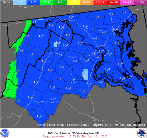 Sterling, VA NWS snowfall map for Friday, 01/25/13.