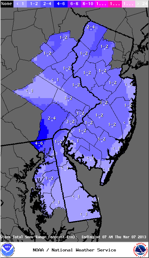 Mt. Holly, NJ NWS accumulating snowfall forecast totals through 7 am Thursday, valid on 03/04/2013.