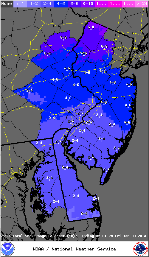 Mt. Holly NWS snowfall forecast from Thursday evening to Friday evening.