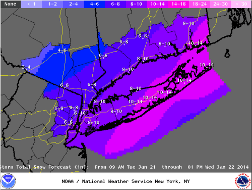 Islip NWS snowfall forecast for 1/21/14.