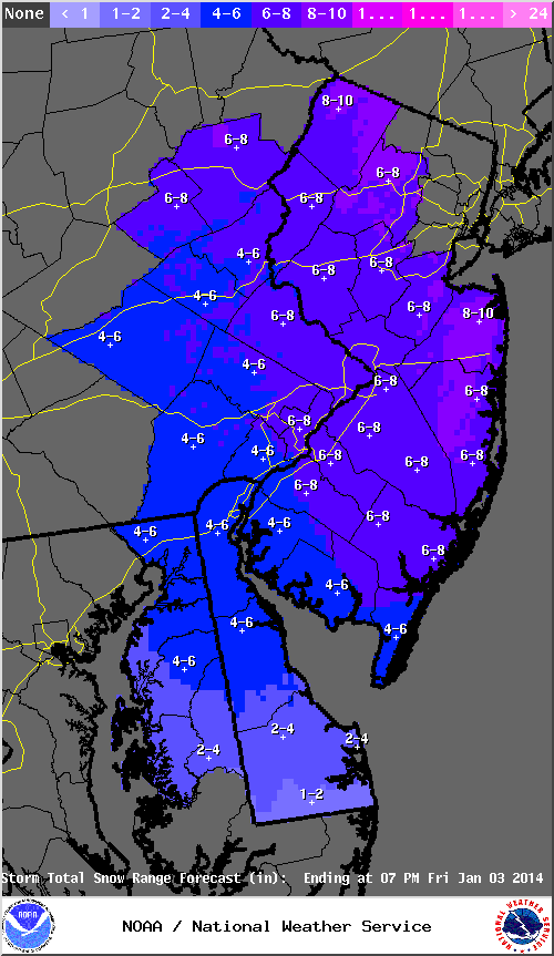 The Mt. Holly NWS snowfall forecast valid for 1/2/14-1/3/14.