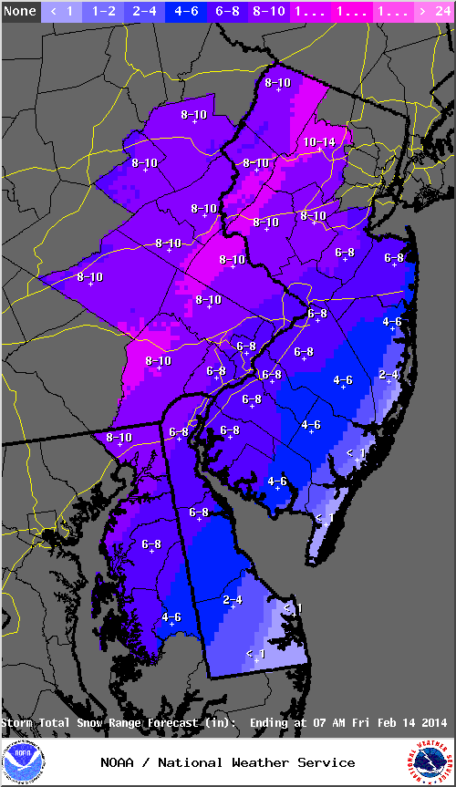 Mt. Holly NWS snowfall forecast as of 2/11/14.