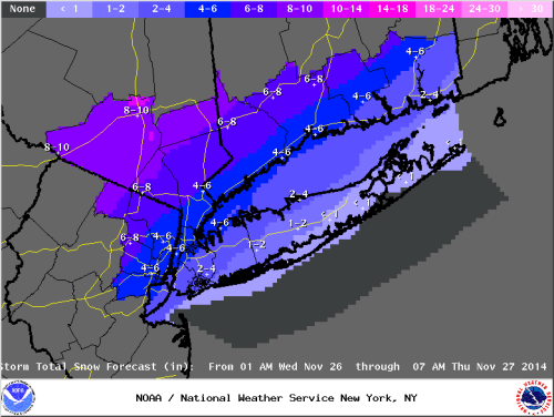 Snowfall Forecast from the Islip, NY NWS weather forecast office valid on 11/25/14.
