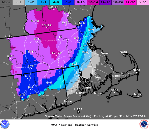 Snowfall Forecast from the Taunton, MA NWS weather forecast office valid on 11/25/14.