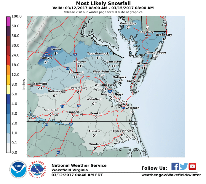 The Wakefield, VA NWS WFO Snowfall Map