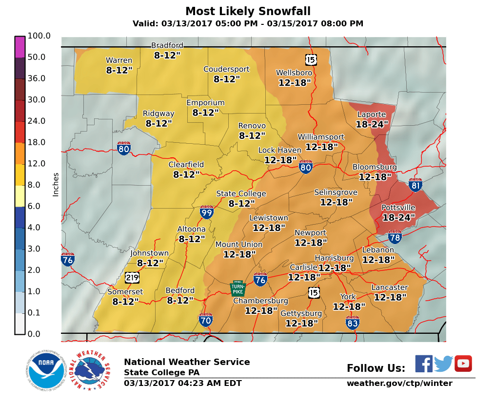 State College, PA NWS WFO Snowfall Map