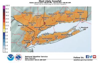 The Upton, NY NWS WFO Snowfall Map