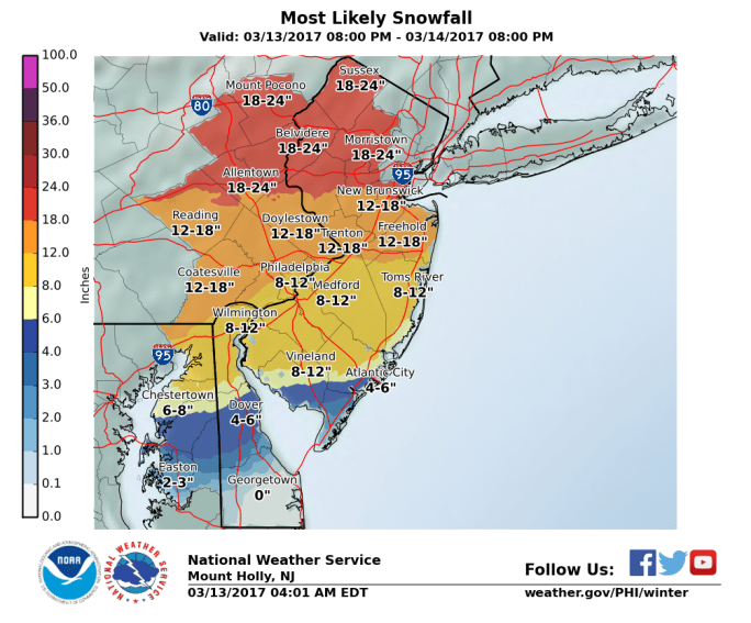 Mt. Holly, NJ NWS WFO Snowfall Map