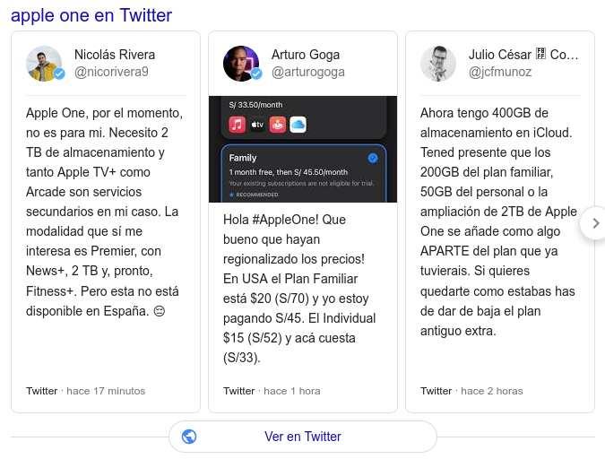 Apple One en Twitter
