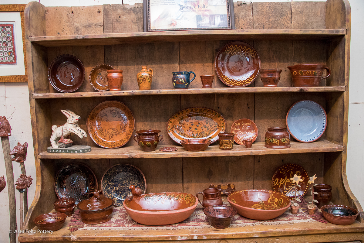 Foltz Pottery Spring Auction in Reinholds, Lancaster County, PA Folk art Redware Pottery and Wood Carvings