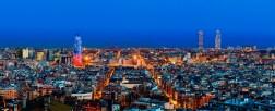 Barcelona skyline with Torre Agbar at twilight, Barcelona, Spain