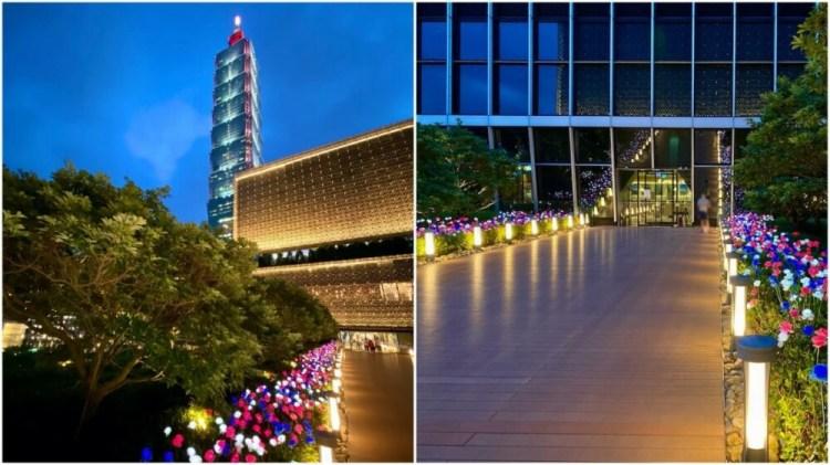 台北信義景點「微風南山」天際花園超美玫瑰燈景打卡點