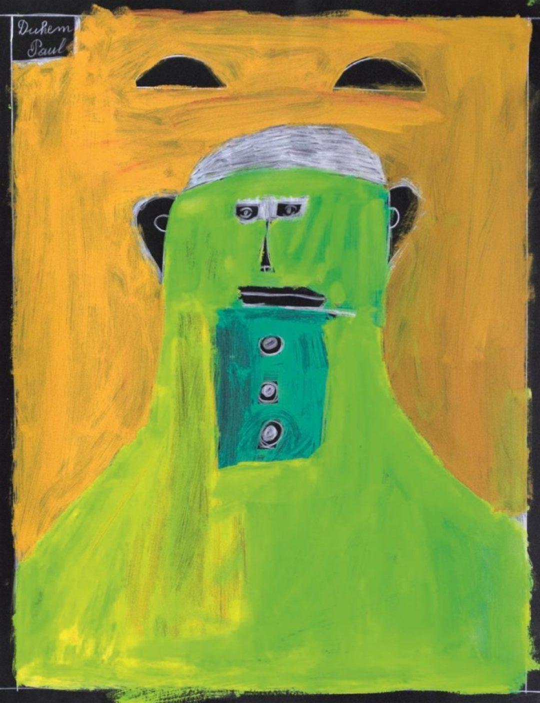 Paul Duhem, sans titre, 1999, crayon blanc et peinture à l'huile sur papier, 65 x 50 cm