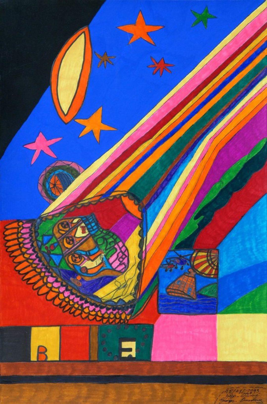 Georges Duesberg (Jojo Aimé), sans titre, 1993, gouache sur papier, 55 x 36,5 cm