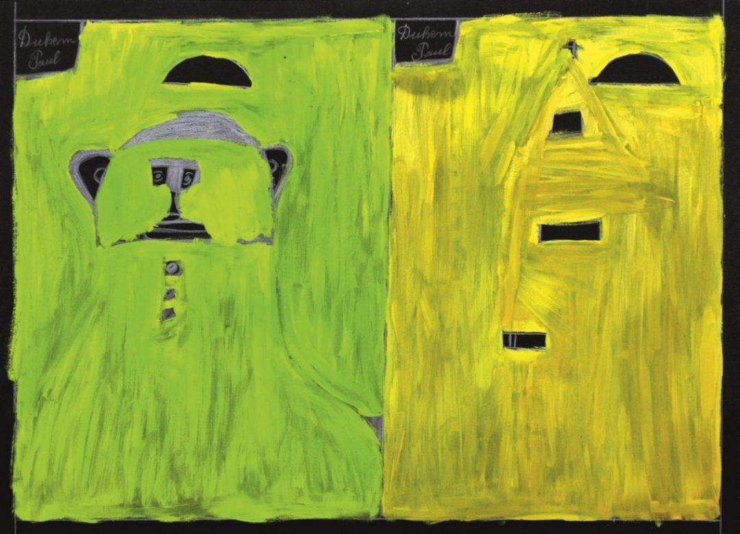 Paul Duhem, sans titre, 1997, crayon blanc, pastel gras et peinture à l'huile sur papier, 55 x 72 cm