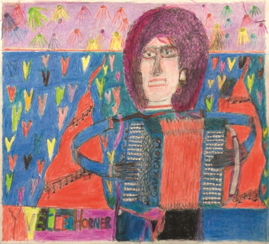 Oscar Haus, Yvette Horner, 2006, crayons de couleur sur papier, 33 x 36 cm