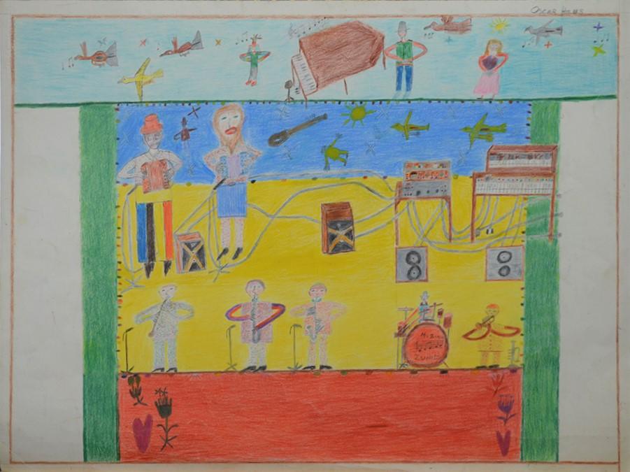 Oscar Haus, sans titre, nd, crayons de couleur sur papier, 55 x 73 cm