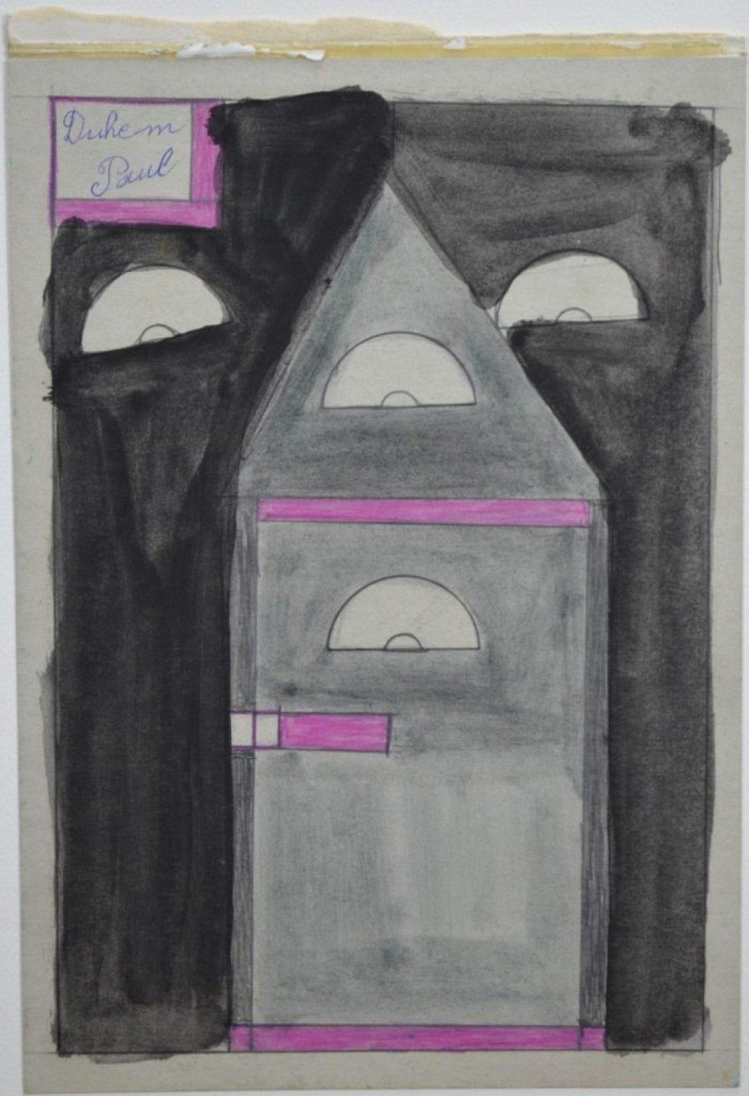 Paul Duhem, sans titre, 1996, crayons de couleur et peinture à l'huile sur carton, 29,7 x 21 cm