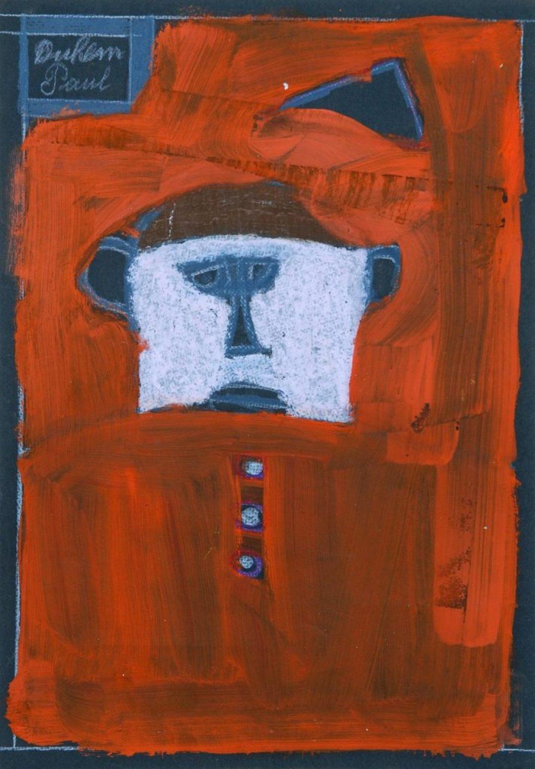 Paul Duhem, sans titre, 1993, crayon blanc, pastel et peinture à l'huile sur papier, 34,6 x 24 cm